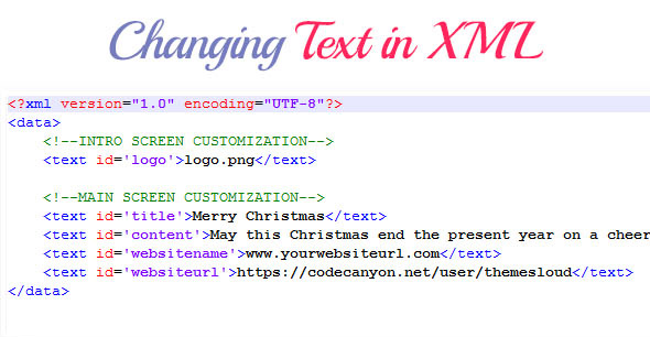 Christmas Greeting Card XML Edit